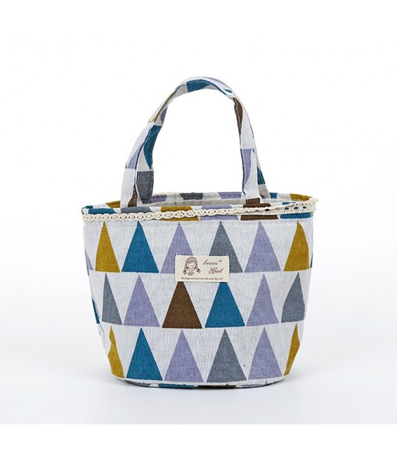 Utensilo - round retro Bobbel bag with drawstring - with triangles - image 2
