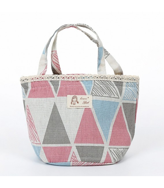 Utensilo - round retro Bobbel bag with drawstring - with triangles - image 3