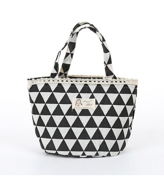 Utensilo - round retro Bobbel bag with drawstring - with triangles - image 4