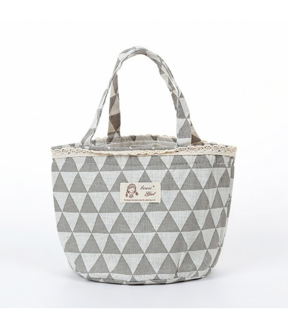 Utensilo - round retro Bobbel bag with drawstring - with triangles - image 5