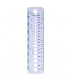 Needle gauge for knitting needles