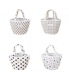 Utensilo - Bobbel bag round Drawstring white - pattern black - image 1