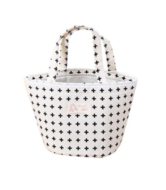 Utensilo - Bobbel bag round Drawstring white - pattern black - image 3