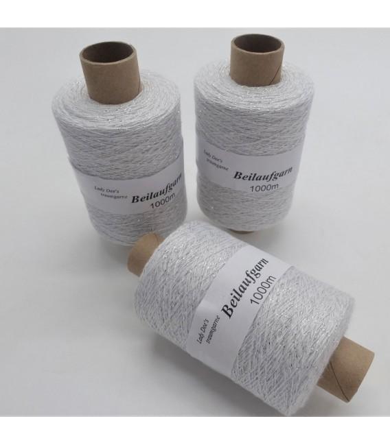 Glitter yarn - glitter thread  Weiß-Silber - pack