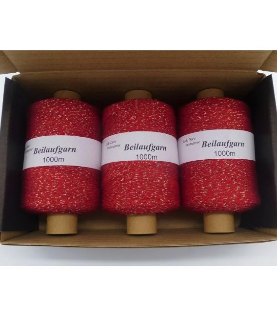 Glitter yarn - glitter thread Rot-Gold - pack