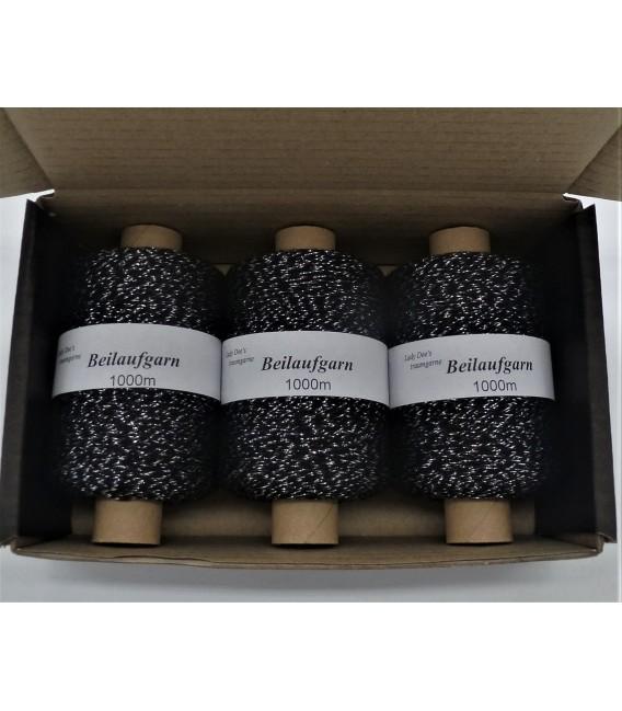 Glitter yarn - glitter thread Schwarz-Silber - pack