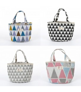 Utensilo - round retro Bobbel bag with drawstring - with triangles