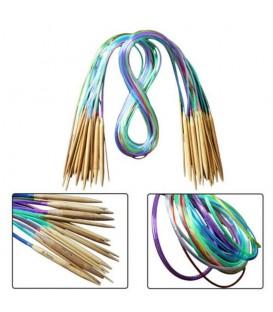Aiguilles à tricoter circulaires en bambou multicolore - set 18 pièces