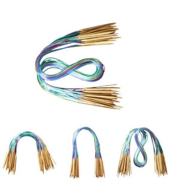 Bamboo circular knitting needles multicolour - 18-piece set - image 2