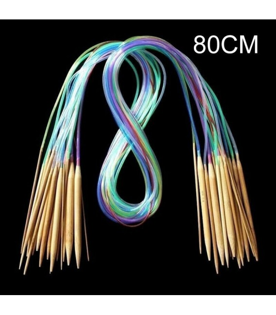 Bamboo circular knitting needles multicolour - 18-piece set - image 7
