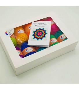 Uni Box (10 х 50г ярких цветов) + Вязаный крючком узор Sirius