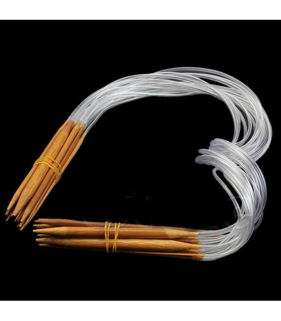 Bambou naturel aiguilles à tricoter carbonisées - 18 pièces emballent - photo 3