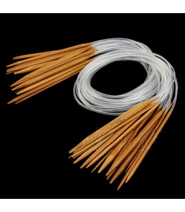 Natural bamboo carbonized knitting needles - 18 pieces pack 4