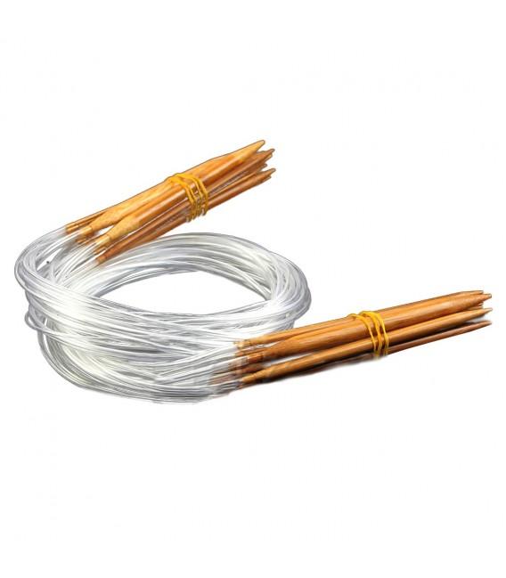 Bambou naturel aiguilles à tricoter carbonisées - 18 pièces emballent - photo 1