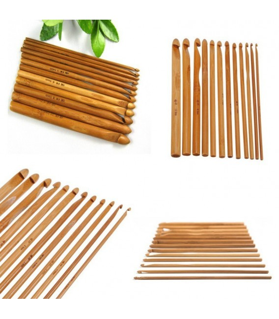 Вязание крючок набор Бамбуковые 12 размеров - Фото 1