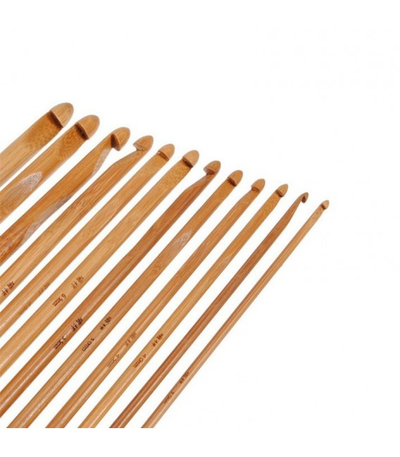 Crochet Needle Set Bamboo 12 Sizes 2
