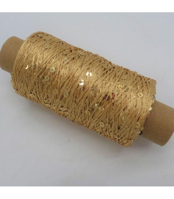 Вспомогательная пряжа - блестки пряжа золото - Фото 2