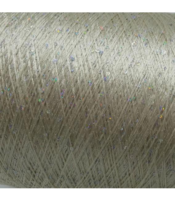 Вспомогательная пряжа - блестки пряжа серебро радужный - Фото 4