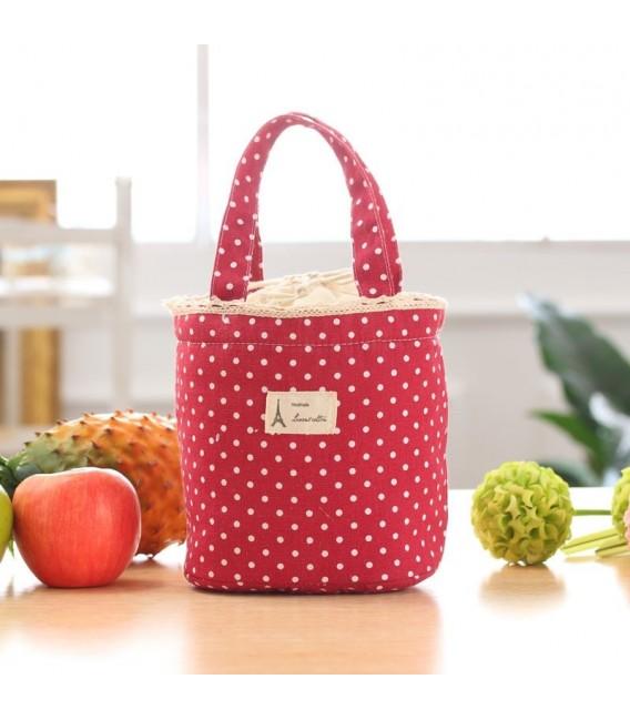 Utensilo - сумка Bobbel в стиле ретро, круглая, на шнуровке - пунктирная - Фото 2