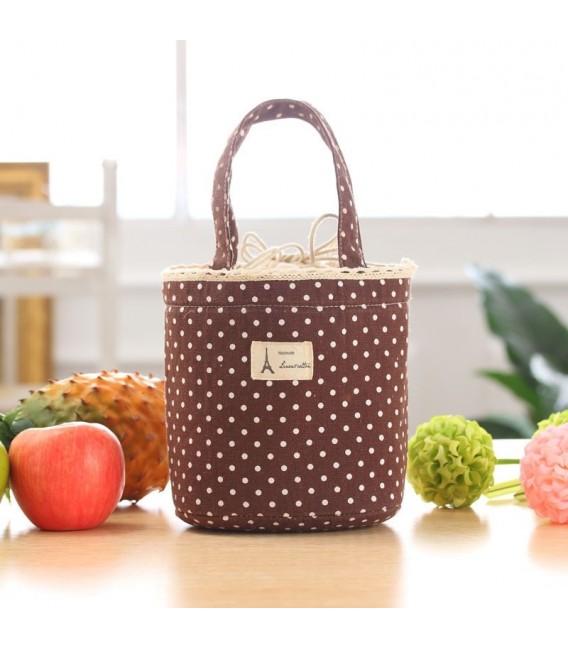 Utensilo - сумка Bobbel в стиле ретро, круглая, на шнуровке - пунктирная - Фото 3