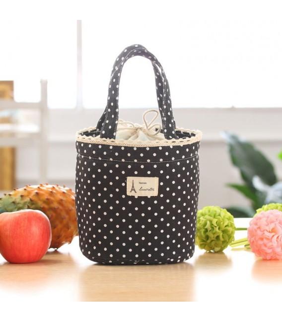 Utensilo - сумка Bobbel в стиле ретро, круглая, на шнуровке - пунктирная - Фото 5