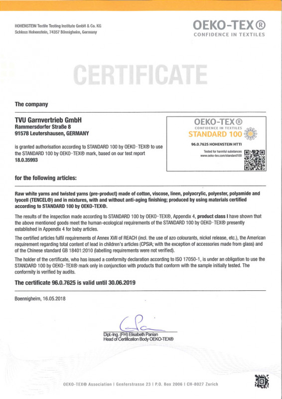 Garn Zertifikat englisch bis 2019