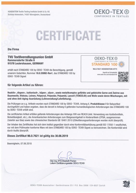 Garn Zertifikat deutsch bis 2019